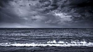 Превью обои море, волны, прибой, пена, чб