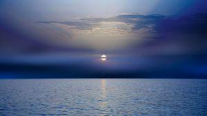 Превью обои море, закат, горизонт, темный