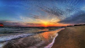 Превью обои море, закат, небо, прибой