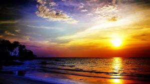 Превью обои море, закат, пейзаж