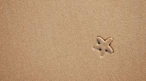 Превью обои морская звезда, песок, пляж, текстура