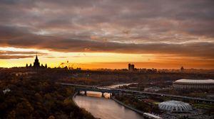Превью обои москва, города, пейзажи, олимпийский, кремль, мост, река
