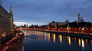 Превью обои москва, ночь, россия, архангельский собор, благовещенский собор, государственный кремлёвский дворец