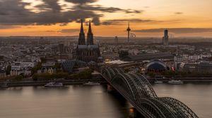 Превью обои мост, архитектура, готический, кельн, германия
