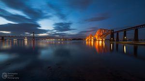 Превью обои мост, архитектура, подсветка, форт-бридж, эдинбург, файф