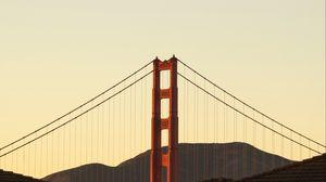 Превью обои мост, горы, минимализм, архитектура