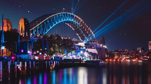 Превью обои мост, ночной город, огни города, харбор-бридж, сидней, австралия