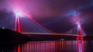Превью обои мост, ночной город, подсветка, конструкция, турция