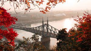 Превью обои мост, осень, город, цитадель, будапешт, венгрия
