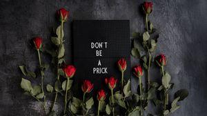 Превью обои мотивация, надпись, табличка, розы, цветы