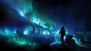 Превью обои мотоциклист, ночь, звездное небо, арт