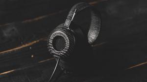 Превью обои наушники, аудио, темный, стильный