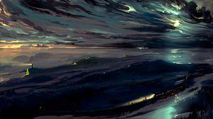 Превью обои небо, арт, темный, ночь