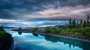 Превью обои небо, природа, река, пейзаж
