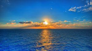 Превью обои небо, солнце, море, дорожка, отражение, облака, рябь, горизонт, линия