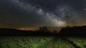 Превью обои небо, трава, звезды, ночь