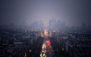 Превью обои небоскребы, облака, пасмурно, дождь, дорога, машины, огни