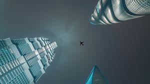Превью обои небоскребы, вид снизу, самолет, минимализм