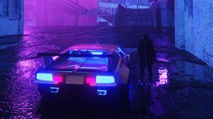 Превью обои неон, автомобиль, силуэт, улица, ночь