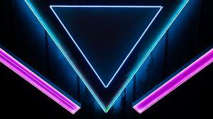 Превью обои неон, формы, треугольник, фигуры
