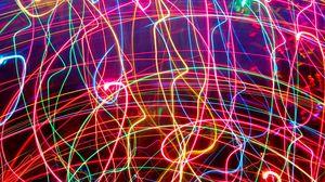Превью обои неон, линии, сплетения, свет, яркий