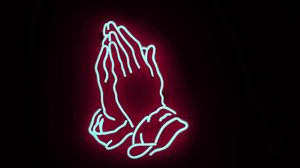 Превью обои неон, руки, молитва
