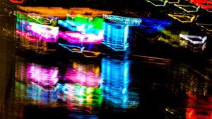 Превью обои неон, свет, размытость, отражение, абстракция, разноцветный