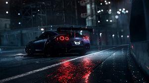 Превью обои nissan gt-r, nissan, спорткар, суперкар, ночь, асфальт, мокрый, дождь, подсветка