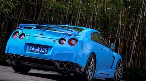 Превью обои nissan, gtr, r35, бампер, голубой, вид сзади