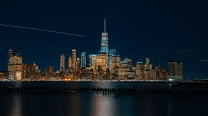Превью обои нью-йорк, сша, ночной город, панорама, небоскребы, берег
