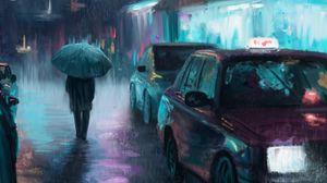 Превью обои ночной город, дождь, арт, живопись, силуэт, улица, машины