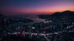 Превью обои ночной город, вид сверху, огни города, южная корея