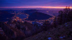 Превью обои ночной город, вид сверху, ночь