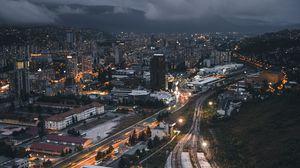 Превью обои ночной город, вид сверху, здания, железная дорога