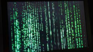 Превью обои ноутбук, символы, код, матрица, технологии