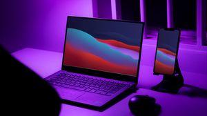Превью обои ноутбук, телефон, рабочий стол, неон, фиолетовый
