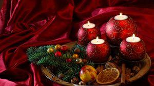 Превью обои новый год, рождество, свечи, хвоя, угощения, шелк