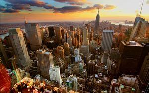 Превью обои нью-йорк, дома, небоскребы, крыши, закат
