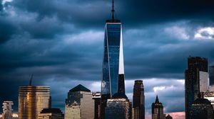 Превью обои нью-йорк, сша, небоскреб, тучи, пасмурно