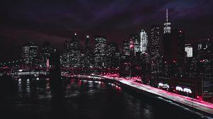 Превью обои нью-йорк, сша, ночь, небоскребы