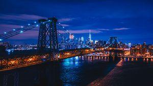Превью обои нью-йорк, сша, ночной город, мост