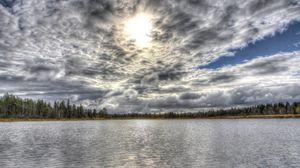 Превью обои облака, пейзаж, hdr, озеро, лес