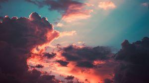 Превью обои облака, пористый, небо, закат, тучи