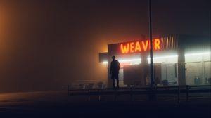 Превью обои одиночество, одинокий, человек, здание, темный