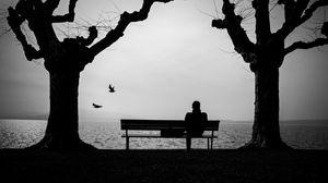 Превью обои одиночество, одинокий, скамейка, силуэт