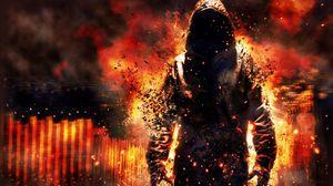 Превью обои огонь, разрушение, обломки, плащ, капюшон, человек