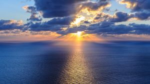 Превью обои океан, море, горизонт, облака