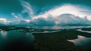 Превью обои океан, остров, вид сверху, деревья, горизонт, закат