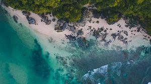 Превью обои океан, пляж, тропики, песок, камни