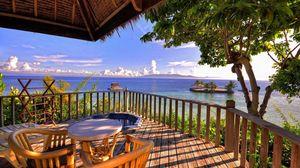 Превью обои океан, пляж, терраса, вид, горизонт, отдых